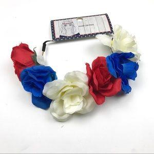 NWT Red, White & Blue Floral Hair Crown